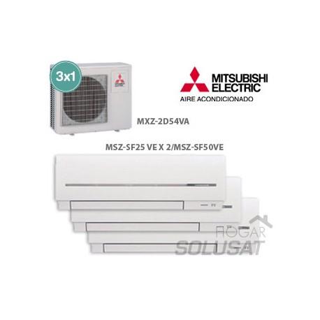 3x1 MXZ-2D54VA - 2 x (MSZ-SF25VA) - MSZ-SF50VA